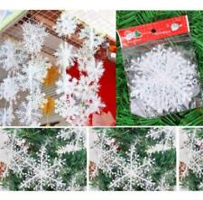 30Pcs Christmas White Snowflake Ornaments Xmas Tree Holiday Home Decor 11cm HOT