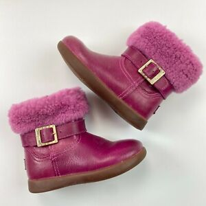 UGG Gemma Toddler Girl Boots Size 8 UK 7 Leather Pink Sherpa Zip Up 1005149T