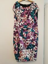 Phase Eight Bright Colours Floral Ruched Dress S 18 PRITINE