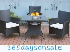 2 X Garden Chair Black Armchairs Rattan Wicker Patio Cushion Dinner Conservatory