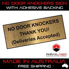 NO DOOR KNOCKERS THANK YOU - GOLD SIGN - LABEL - PLAQUE 10CMX4CM