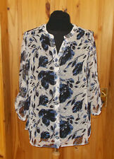 Ivory off-white blue black floral chiffon long sleeve blouse shirt top 18 46