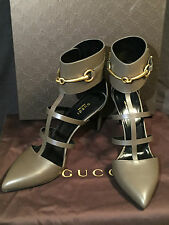 GUCCI WOMEN'S GRAY LEATHER T-STRAP POINTED TOE STRAPPY HEELS! SIZE 39.5 (9.5 US)