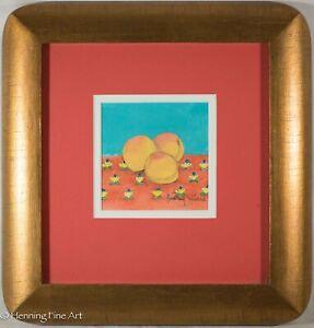 Fine Audrey Dillard Watercolor Painting Fruit Still Life Orages Floral, Framed