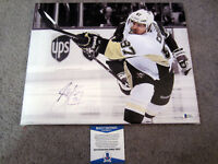 SIDNEY CROSBY Pittsburgh Penguins SIGNED Autographed 11x14 CANVAS PRINT BAS COA