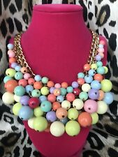 Betsey Johnson Runway Collection HUGE Candy Pastel Bright Cluster Ball Necklace