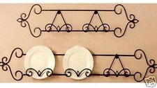 Wrought Iron Wall Plate Rack Display AntiquBrown 130cm