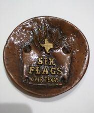 Vintage 70's Six Flags Amusement Park 3D Raised Ceramic Plate Stanridge art inc