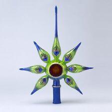 "David Strand Peacock ""Starlight"" Painted Glass Christmas Finial Tree Topper MIB"