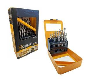 Punte Elicoidali per ferro da trapano micce HSS misure 1 a 13 mm Set di 25 pezzi