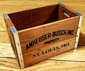 Vintage Anheuser Busch Mini Wood Crate Breweriana Collectibles Made In USA