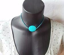 Micro Macramé Joyería Gargantilla Collar Colgante Howlite Turquesa Piedras Preciosas Perlas