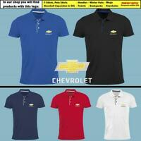 Chevrolet Chevy Polo T Shirt EMBROIDERED Auto Car Logo Slim Fit Tee Mens Clothes