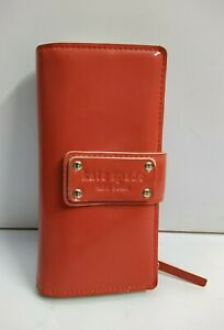 Kate Spade New York Coral Patent Leather Bifold Long Credit Cards Wallet