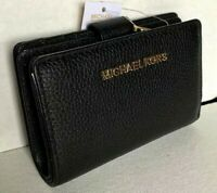 New Michael Kors Jet Set Travel MD Bifold Zip Coin wallet Pebble Leather Black