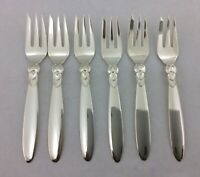 6 No CACTUS PASTRY FORKS SOLID SILVER GEORG JENSEN