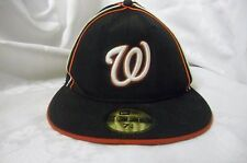 Washington Nationals New Era 59FIFTY Fitted Cap 7 1/4 Hat Black Red White Logo