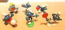 Smurf  Plastic Toy Figure Lot (6) : Sports Tennis, Soccer Football ++
