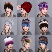 Women's Soft Rex Rabbit Fur Hats Winter Warm Fur Head Wrap Knit Cap Beanie Hat