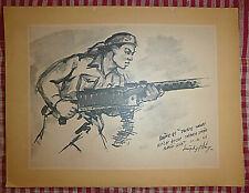 Vietnam Liberation Art - A LIBERATION ARMY MAN -  1966 - VC MACHINE GUNNER - 17