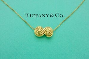 Authentic Vintage Tiffany & Co. Scroll Pendant Necklace in 18k Yellow Gold