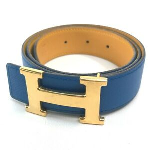 HERMES Constance H Buckle Reversible Belt Leather Blue / Yellow