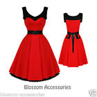 RKH6 Hearts & Roses Red Vintage 50s Party Prom Swing Full Flare Circle Dress