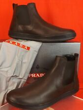 PRADA Brown Textured Leather Elastic Platform BOOTS 9.5 US 10.5