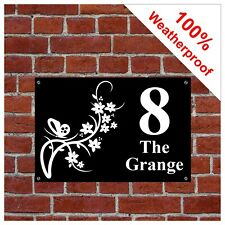 Flower and butterfly house sign or sticker 9139 printed with number or address