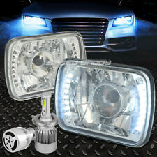 7x6 SQUARE CHROME PROJECTOR CLEAR HEADLIGHT+WHITE LED H4 HID W/FAN FOR NISSAN