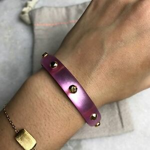 NEW Alexis Bittar Pink Magenta Gold Studded Cuff Bangle Bracelet $145