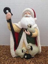 "Gare 1996 Ceramic Handpainted Christmas Santa Shepherd Black Sheep Figurine 9"""