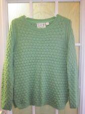 Field Flower Green Crewneck Long Sleeve Acrylic&Wool&Mohair Sweater Women XS **