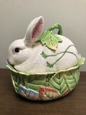 Fitz and Floyd Le Lapin Large Covered Bowl Bunny Rabbit Easter Vegetable Dip