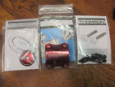 """NEW THOMSON 4 BOLT  31.8 CLAMP RED ANODIZED STEM FACE PLATE & 1 1/8"""" STACK CAP"""