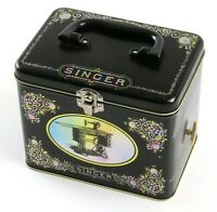 Singer Sewing Retro Tin Music Box Trinket Box, Buttons and Bows