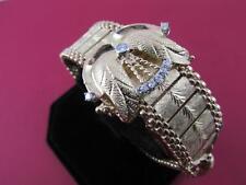 Vintage Handmade Diamond 14k Solid Gold Geneva 17 Jewel Ladies Bracelet Watch