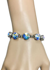 Silver Tone Aurora Borealis Crystals Evening Bracelet By Sorrelli,Bridal,Pageant