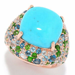 Meher's Jewelry 3.83ctw Turquoise & Multi Gemstone Cluster Sterling Silver Ring