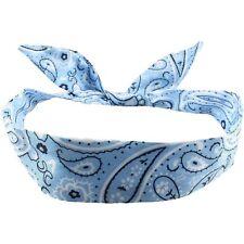 Drahthaarband Stirnband Rockabilly  Kopfschmuck Haarband Paisley Hellblau Mode