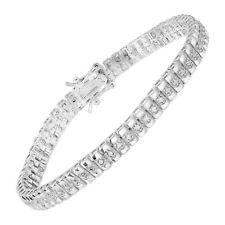 "0.25 ct Round Diamond Line Bracelet in 14K White Gold Plated Brass, 7.25"" Hallow"