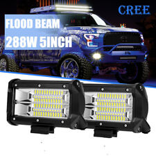 "5""Inch 288W Cree LED Work Light Bar FLOOD Offroad Jeep Ford 4WD Truck Boat 4"" 6"""