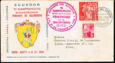 130 ECUADOR TO PERU COVER 1956 BASKETBALL CHAMPIONSHIP QUITO - LIMA