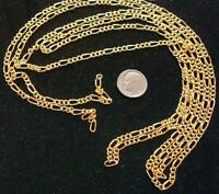 Pyramid Jewelry Mens 14k Yellow Gold 3.6 mm White Pave Figaro Chain Necklace 18 to 26