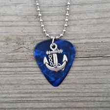 Silver Plated Anchor charm on blue guitar pick ball chain Necklace Jewelry