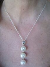 LADIES 12 MM CREAMY-WHITE PEARL NECKLACE - WHITE GOLD over 925 STERLING SILVER
