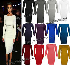 LADIES WOMENS LONG SLEEVE STRETCH BODYCON PLAIN JERSEY MIDI MAXI DRESS 8 TO 26