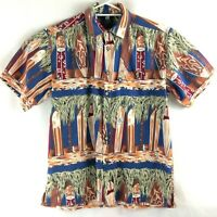 Hang Ten Vintage Surfwear Shirt Size S Surfboard Print Blue Short Sleeve Retro