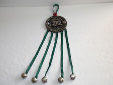"""""""Santa Stops Here"""" Metal Hanger With Bells on Ribbon that Chime"""
