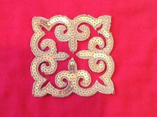 Silver  sequin embroidery patch lace applique motif dress irish dance costume
